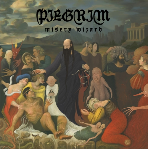 Thanks to the album artwork, I liked Pilgrim before even hearing one note of their music – a morbid medieval painting with a wizard standing over a miserable assembly of deformities: a crab/worm woman, a saggy-titted burn victim with tentacles for arms, a two headed premi-baby without limbs – all of them standing/sitting/lying in what resembles a ghostly amniotic fluid while the devil looks on from the background.