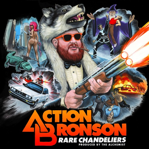 "On ""Rare Chandeliers,"" Action Bronson takes on the persona of pimp-gamgsta-mercernary with a hankering for fine food. He's ready to take on all comers on this blaxpoitation of a cover, whether it be a knife wielding stripper, a gun-toting alligator, or a kung-fu wizard."