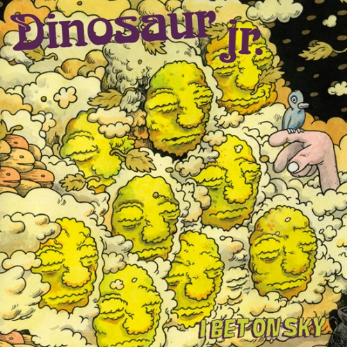 """In terms of album art, J. Mascis and the rest of the Dinosaur Jr gang are on quite a roll.  In 2009 they released """"Farm"""" with it's trippy image of walking tree people, and Mascis's 2011 solo release """"Seven Shades of Why"""" featured another memorable cover, with an adorable little fur monster sitting atop a harmless-turtle-beast. The string of engaging covers continues this year with """"I Bet On Sky"""" and Travis Millard's illustration of what can only be described as a wall of cloud faces."""
