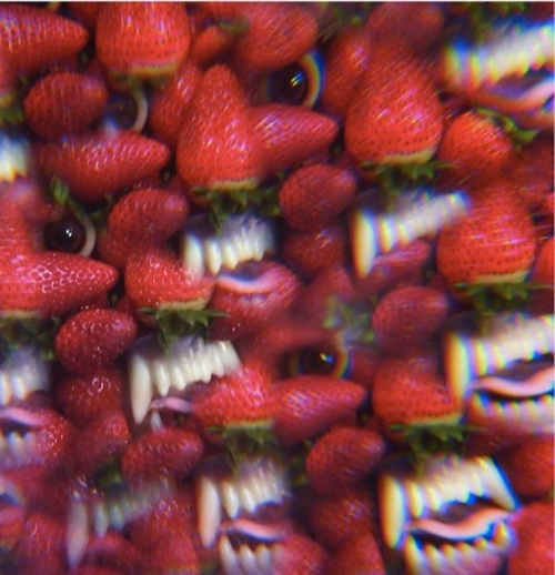 "I can't help but feel I need to wear 3D glasses when staring at this kaleidoscope nightmare that I've aptly titled ""Strawberry Teeth Forever."""