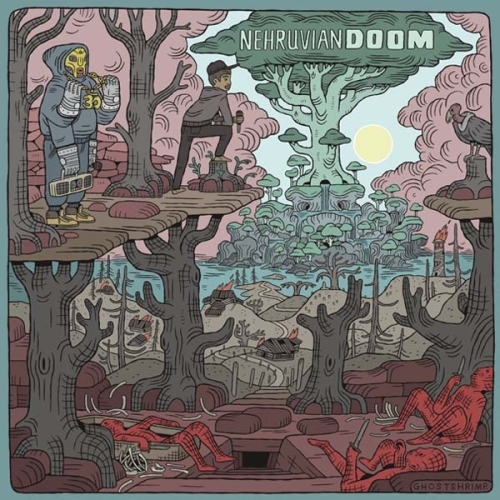 Some people find cartoonist Ghostshrimp's animated creation Adventure Time to be a bit demented and strange, but his work on the cover for the collaborative album NehruvianDOOM reveals the even darker recesses of his mind – a dead forest, a burning village, and knife wielding corpses. Amidst all this chaos sits one sign of hope – a massive tree covered in what one can only assume are mind-altering mushrooms. I guess that explains where Jake the dog came from.