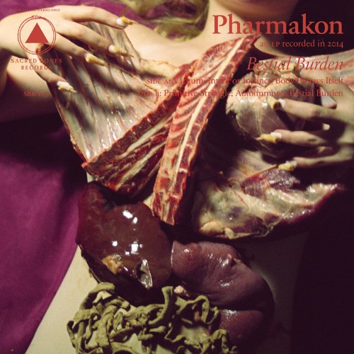 Just when you thought that abrasive noise-pioneer Pharmakon couldn't get more gruesome, the cover to Bestial Burden comes along. Lady Gaga's meat dress has got nothing on Margaret Chardiet's blanket of animal organs.