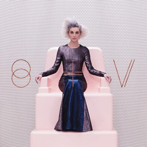 """In June I wrote about the cover to St. Vincent's self-titled album, saying, """"The cover photo says it all, Annie sitting upon a throne wearing a sleek evening gown, her hair a frizzy mess of silver locks. Her face is neither smiling nor frowning, yet her eyes stare out, cold and confident. Long gone is the innocent cover photos of Annie smiling sweetly in front of a pastel backdrop. She's now queen of her domain and the music on the album shows her dominance."""""""